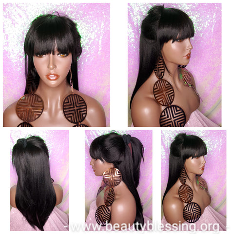 Bang Wigs Straight Hair Human Hair Blend Glueless Wig Natural Texture Hair