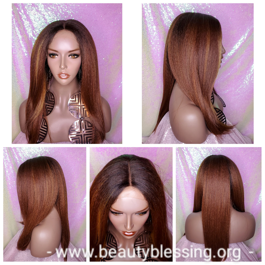 Blowout Yaki Straight Hair Heat Resistant Premium Fiber Lace Front Glueless Wig