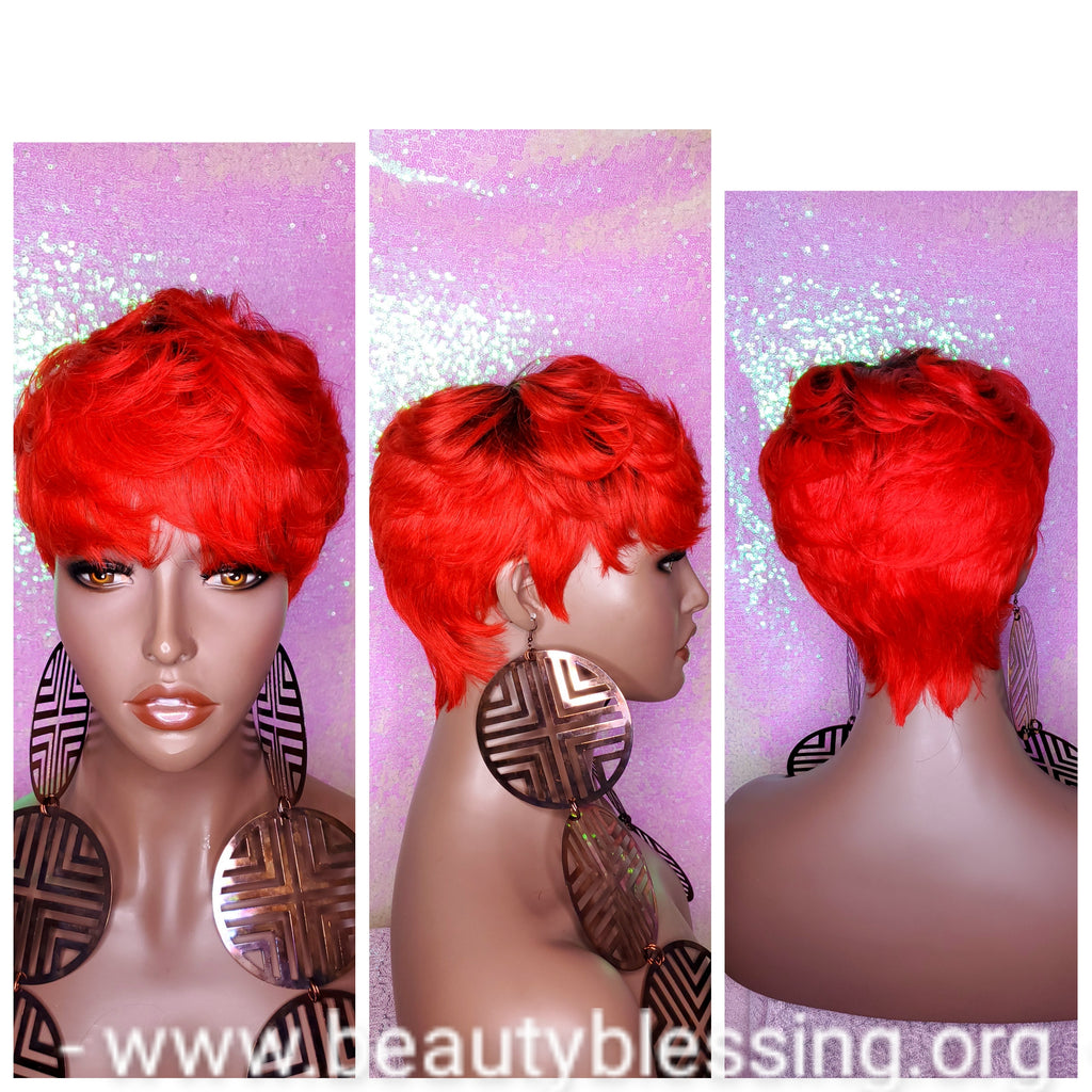 Red Choopy Pixie Cut Peruvian Remy Human Hair Wig