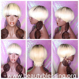 Pixie Cut Bowl Cut Wig Celebrity Inspired Hairstyle 100% Remy Human Hair Blonde Hair Wig