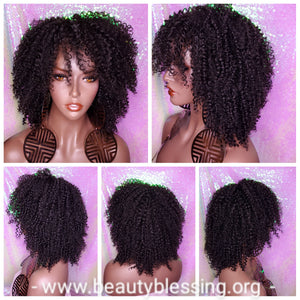 Bohemian Curl Human Hair Blend Full Cap Wig
