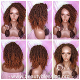 Ombre Brown Auburn Passion Twist Afro Hair Kinky Twist Glueless Lace Wig Premium Fiber Hair