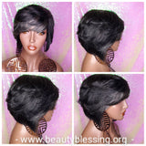 Dark Salt & Pepper Gray Tones Bob Cut Layered Brazilian Remy Human Hair Wig