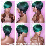 Ombre Green Mix Short Wig  Pixie Cut Style with Swoop Bangs Wig Premium Fiber Hair