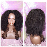 Messy Bohemian Afro Kinky Coil Curly Natural Hair Lace Front Wig Premium Fiber Goddess Curl Hair Wig