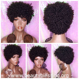Mongolian Virgin Short Afro Coil Kinky Curl Human Hair Wig Glueless Hair Full Natural Wig