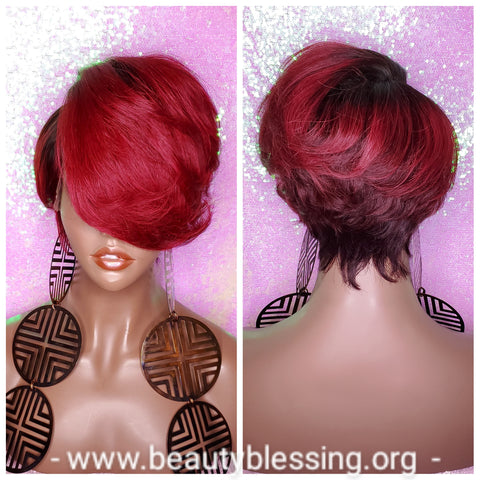 Pixie Cut Swoop Bang Remy 100% Human Hair Pre-Plucked Burgundy Wine Hair Lace Front Wig