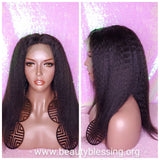 Indian Remy Human Hair Yaki Kinky Straight Lace Front Hair Wig 13X6 Deep Lace Part Wig