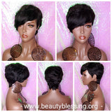 Peruvian Remy 100% Human Hair Short Pixie Razor Cut Swoop Bang Black Brown Gray Color Hair Wig