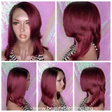 WIG Wrap Style 100% Brazilian Virgin Remy Human Hair Lace Wig Burgundy Wine Hair  Glueless Hair Wig