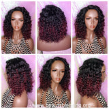 Deep Wave Lace Wig Glueless Lace Wig Burgundy Hair Premium Fiber Wig