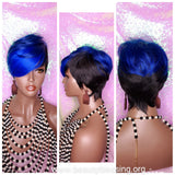 Swoop Bang Pixie Cut Royal Blue Hair Premium Fiber Wig