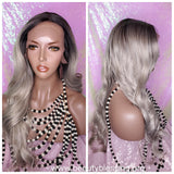 Long Loose Curl Ombre Smoky Gray Glueless Lace Wig Premium Fiber Hair