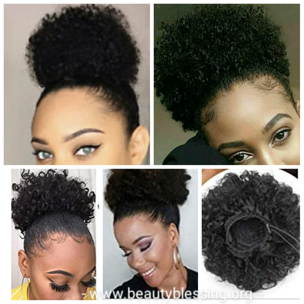 Human Hair Ponytail Afro Kinky Puff Ponytail Afro Curly Hair Extension Human Hair Afro Puff Hair Ponytail