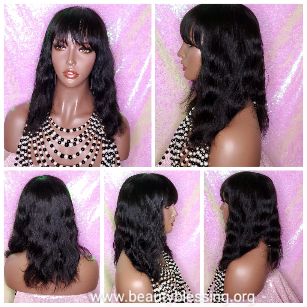Virgin Brazilian Remy 100% Human Hair Natural Loose Waves Big Water Wave Hair Full Wig with Bangs