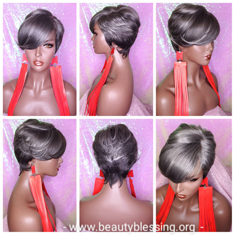 Gray Platinum Pixie Cut Razor Choppy Cut Hair Blend Wig Gray Platinum Silver Hair Wig
