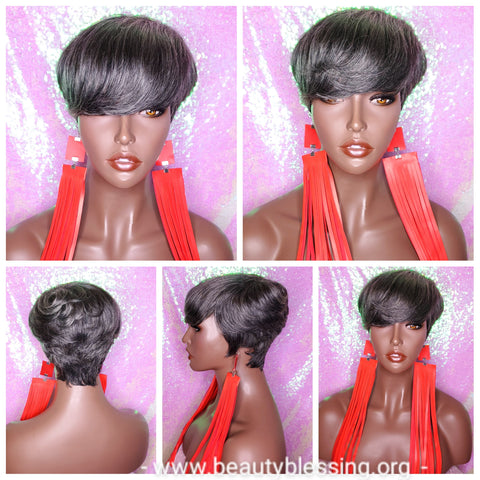 Salt Pepper Gray Hair Wig Swoop Bang Pixie Cut Indian Remy Human Hair Wig Colored Gray Hair Wig