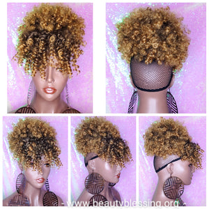 Ponytail Afro Kinky Puff Bangs Ponytails Afro Curly Hair Afro Bang Afro Puff Hair Ponytail