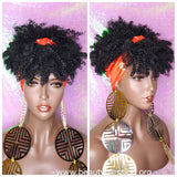 Headband Wig Afro Kinky Puff Bangs Wig Afro Curly Hair Wrap Wig Afro Bang Pre-tied Turban Wig