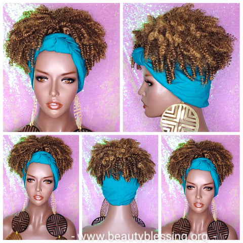Headband Wig Afro Kinky Puff Bangs Wig Afro Curly Hair Wrap Wig Afro Bang Pre-tied Turban Wig Ombre Brown Strawberry Blonde Wig