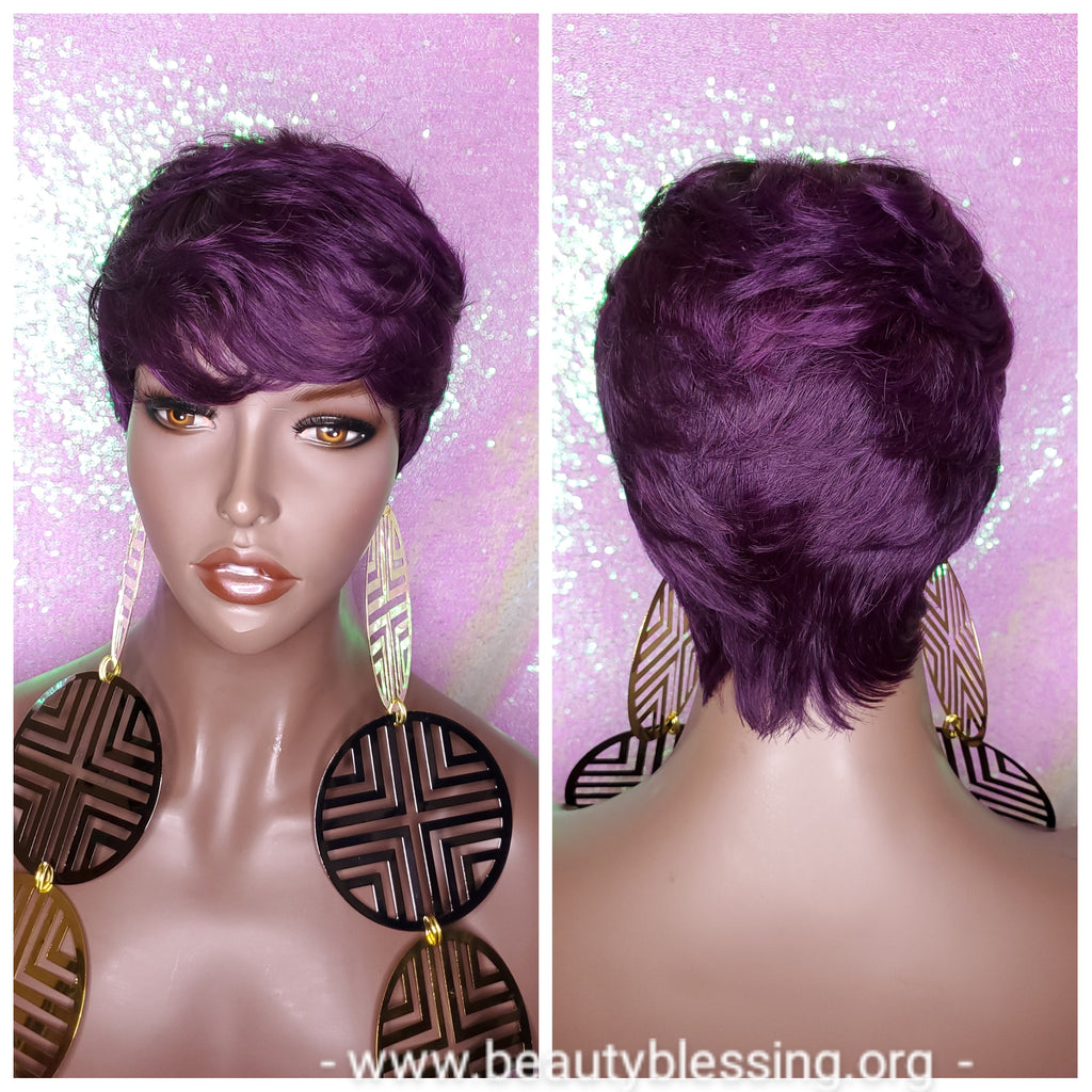 Purple Razor Cut Pixie Cut Peruvian Remy Human Hair Wig Ombre Purple Wig