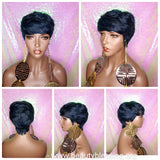 Pixie Cut Peruvian Remy Human Hair Wig Midnight Blue Hair Wig