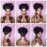Afro Kinky Puff Curl Turban Wig Black Sequin Head Band Wig