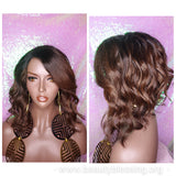 Loose Wave Bob Ombre Brown Auburn Human Hair Blend Wig Preplucked Lace Part Wig Swoop Bang Hair