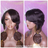 Pixie Cut Bob Lace Front Brazilian Remy Human Hair Layered Hair Bob Style with Swoop Bangs Glueless Lace Wig