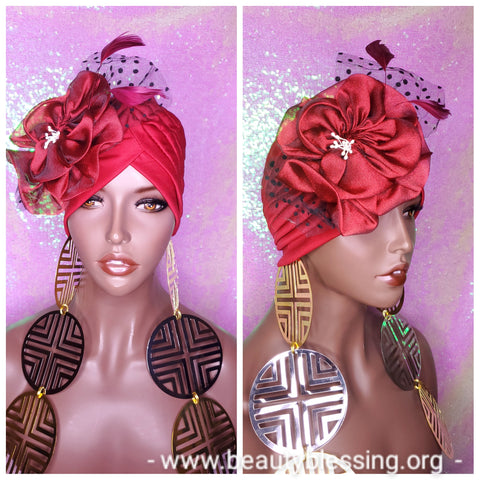 Turban Women Stretchy Burgundy Red Turban Bonnet Hat Head Wrap Hair Cap Chemotherapy Hair Scarf Flower Bow Headband Beanie Hat