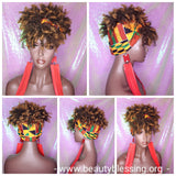 Turban Wig Afro Kinky Puff Bangs Wig Afro Curly Corkscrew Hair Wrap Wig African Print Head Wrap Wig Afro Puff Hair Bang Wig