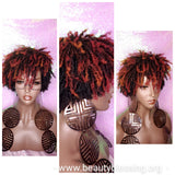 Afrocentric Short Afro Kinky Coily Twist Coil Dread Lock Natural Hair Wig Ombre Autumn Plum Burgundy Auburn Strawberry Blonde Hair Wig