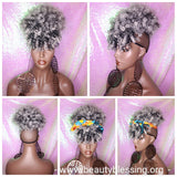 Ponytail Hair Afro Kinky Puff Bangs Ponytails Afro Curly Hair Afro Bang Gray Salt Pepper Gray Colored Afro Puff Hair Ponytail