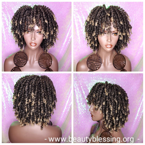 Large Afro Coil Kinky Twist Hair Brown Blonde Twist Natural Wig Bantu Knots Hairstyle