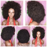Big Afro Kinky Coil Realistic Natural Hair Afro Full Cap Wig