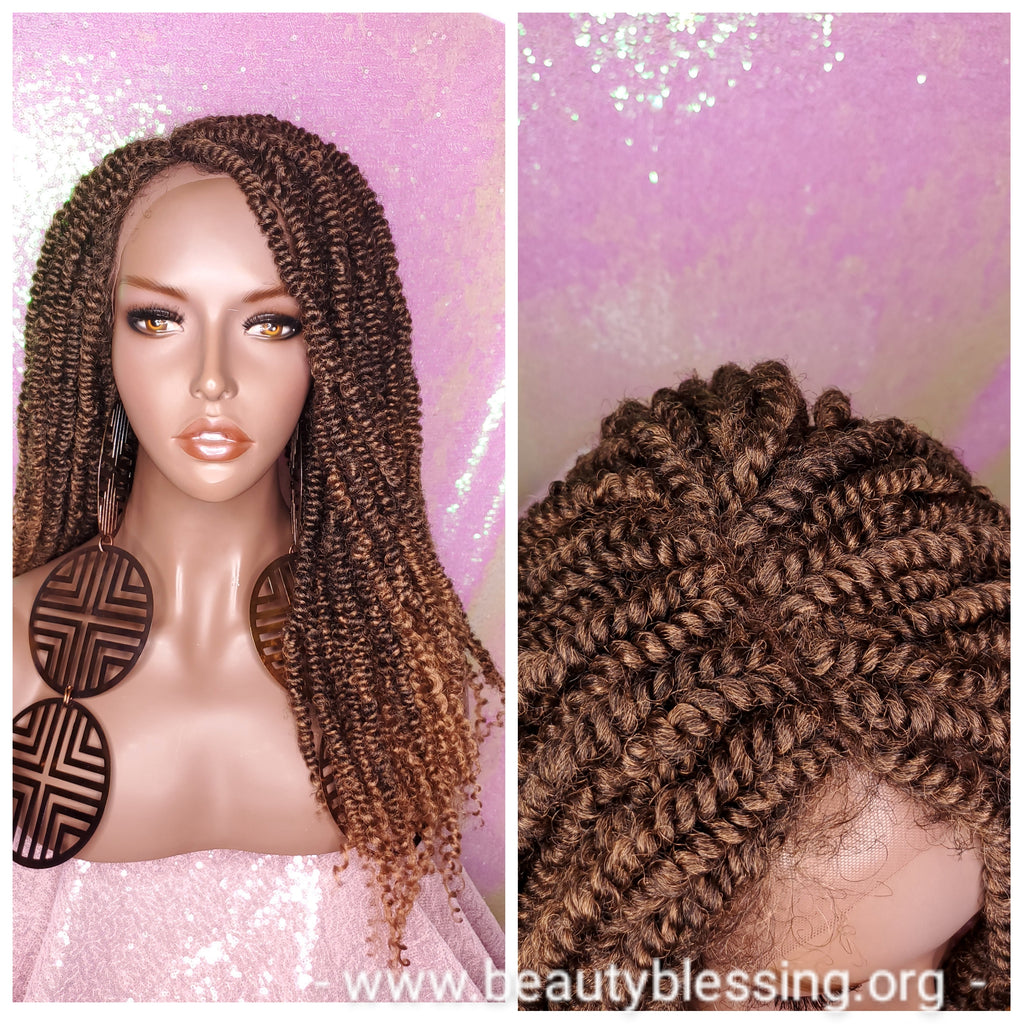 African Kinky Twist Lace Wig Passion Twist Hair Locs Afro Glueless Lace Wig Strawberry Blonde Twist