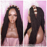 African Kinky Twist Lace Wig Micro Twist Afro Hair Loose Wave Twist Glueless Lace Wig