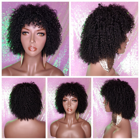 Indian Remy Kinky Straw Curl Short Afro Curly Wig Human Hair Remy Natural Hairstyle Wig