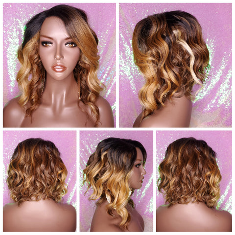 Bob Style Loose Wave Pre-Cut Lace Wig Preplucked Lace Wig Swoop Bang Hair Ombre Brown Strawberry Blonde Auburn Blonde