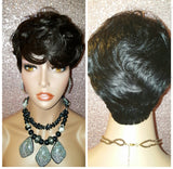 Pixie Short Feathered Cut Remy Human Hair Wig