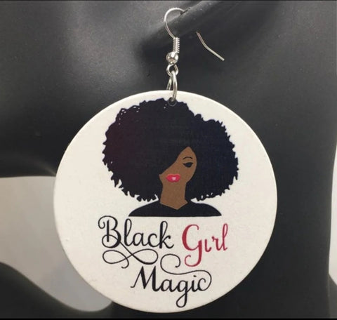 Black Girl Magic Dangle Circular Earrings Natural Ladies Afrocentric Unique Earrings