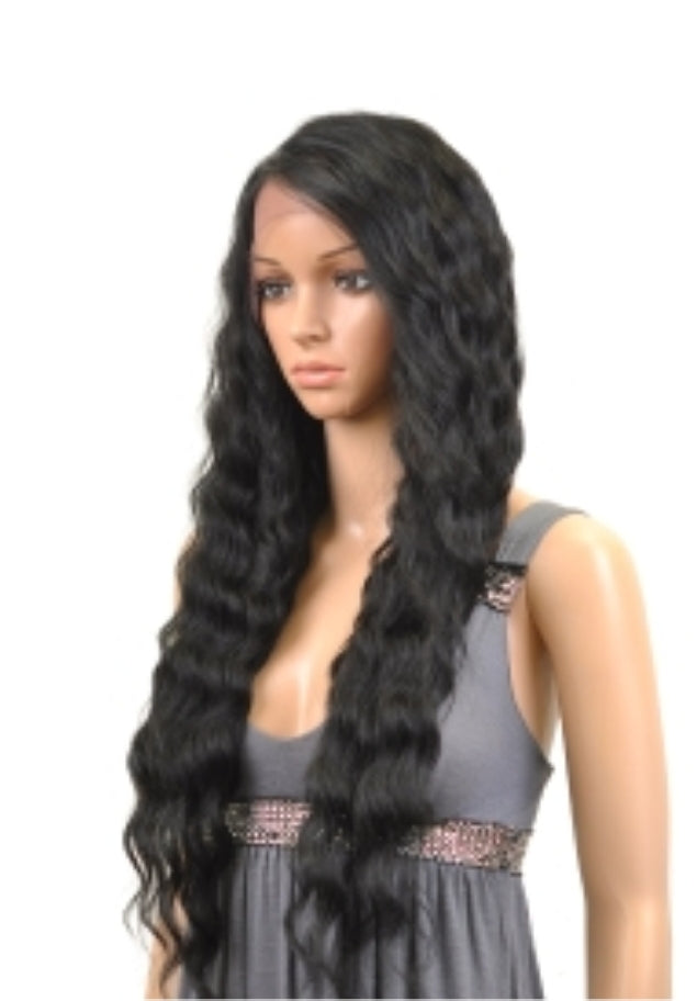 DEEP WAVE Premium Fiber Heat Resistant Natural Look Free Style Parting Lace Wig!