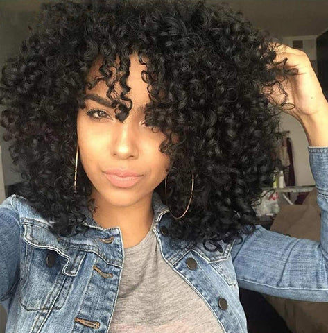 Curly Kinky Spiral Curl Wig  New Fashion Black Heat Resistant Fiber Human Hair Blend Wig Very Natural Look