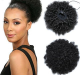 Afro Kinky Curly Ponytail 100% Human Hair Natural Black Hair Clip In Ponytails Drawstring