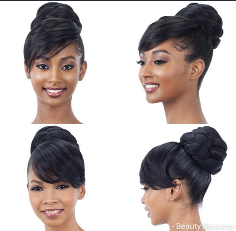 2pcs Hair Ponytail Bun/Swoop Bang Set