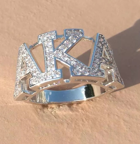 Alpha Kappa  Alpha Custom Made Cubic Zirconia Stones Sorority AKA Logo Letter  Ring