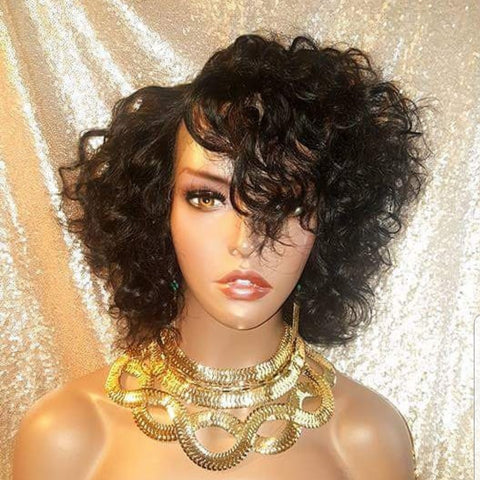 Wavy Short Style Brazilian Remy 100% Human Hair Lace Wig