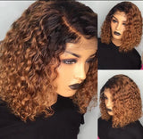 Ombre Wig Brazilian Remy Wavy Short Human Hair Wig 13X6 Deep Part Bob Lace Front Wig Preplucked With Baby Hairs Honey Caramel Blonde