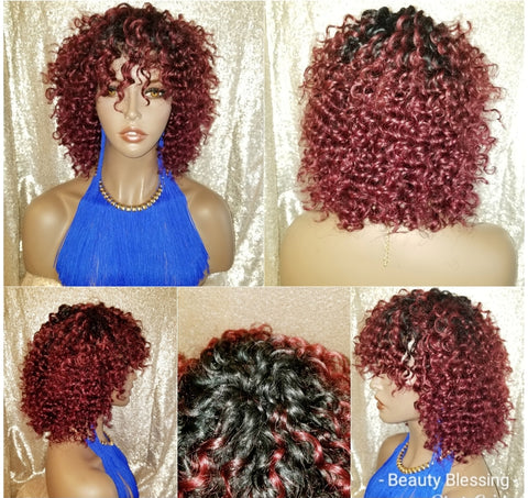 Deep Wave Brazilian Remy Human Hair Bang Hair Full Wig