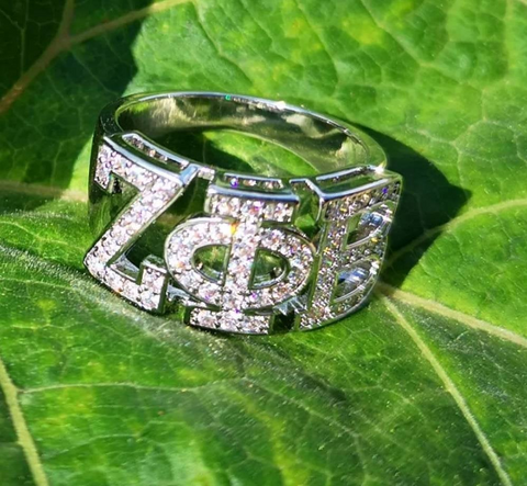 Zeta Phi Beta Sorority Greek Letter Ring Top Quality Cubic Zirconia Custom Silver Ring Pre-order 2 to 4 Weeks